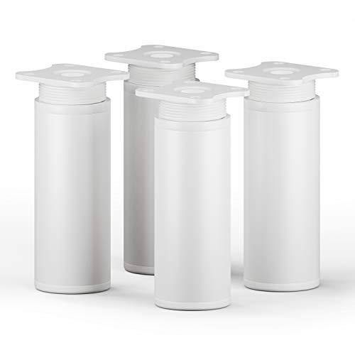sossai Patas para muebles MFR1 | 4 piezas | altura regulable | Diseño: Blanco | Altura: 100 mm (+20mm) | Perfil redondo: 40 x 40 mm |Tornillos incluidos