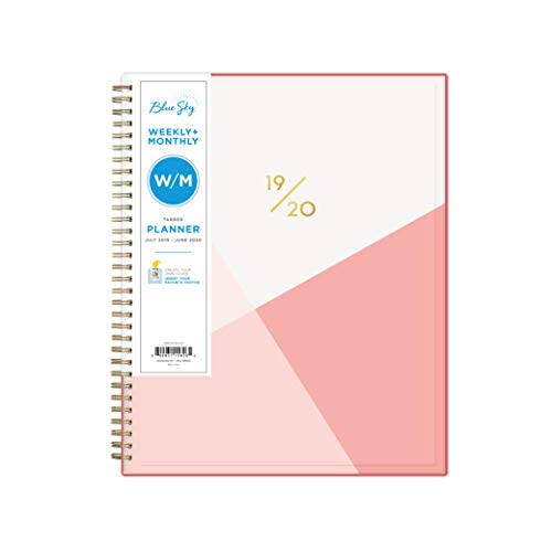 """Blue Sky 2019-2020 Academic Year Weekly & Monthly Planner, Flexible Cover, Twin-Wire Binding, 8.5"""" x 11"""", Cali Pink"""