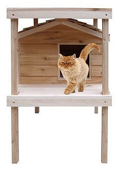 Large Outdoor Cat House with Platform and Loft, Thermal-Ply Insulation, Waterproof Shelter, Cedar...
