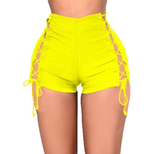 Pantalones cortos de mezclilla sexy para mujer, moda vendaje decoración tendencia rasgado agujeros casuales, 2, XL