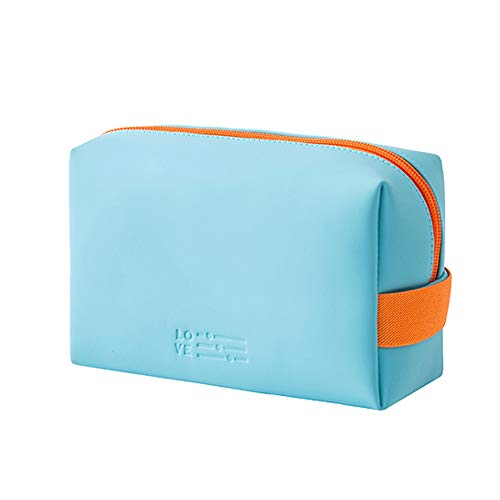 Makeup Bag Organizer Portable Cosmetic Pouch Travel Brush Holder PU Women Girls Handbag Zipper Pencil Storage Case for Purse,Light Blue