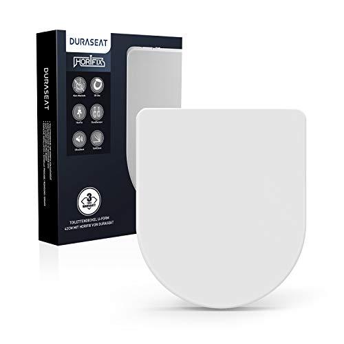 DURASEAT® DU002US Premium Toilettendeckel U-Form 42CM, WC Sitz mit Absenkautomatik, Toilettensitz Antibakteriell aus Duroplast und rostfreiem Edelstahl