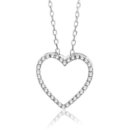 Orovi Collana - Pendente - Ciondolo Donna Cuore con Catena in Oro Bianco con Diamanti Taglio Brillante Ct 0.10 Oro 9 Kt / 375 Catenina Cm 45