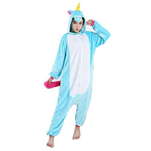 Pijama Unicórnio Azul Macacão Kigurumi com Capuz Tamanho: M 1,56-1,66
