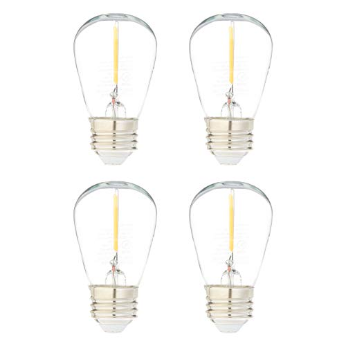AmazonBasics Replacement LED String Light Bulbs S14 Shape, Edison Style, 1 Watt Power | 4-Pack