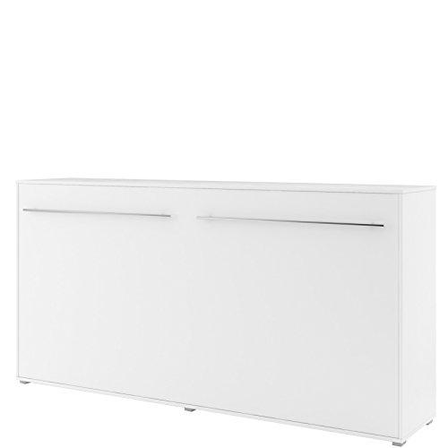 Schrankbett Concept PRO Horizontal, Wandklappbett, Bettschrank, Wandbett, Schrank mit integriertem Klappbett, Funktionsbet (90x200 cm, Weiß Matt)