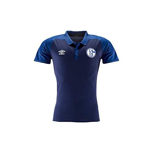 Umbro Herren Fußball FC Schalke 04 Polyester Polo Shirt S04 Trainingsshirt Navy blau Gr M