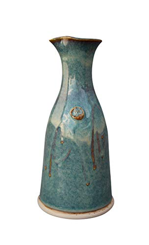 Wine Decanter Hand-Thrown Hand-Glazed in Ireland. Original Design Pottery Carafe 600ml Volume- 8 Inches Height with Celtic Spiral Symbol