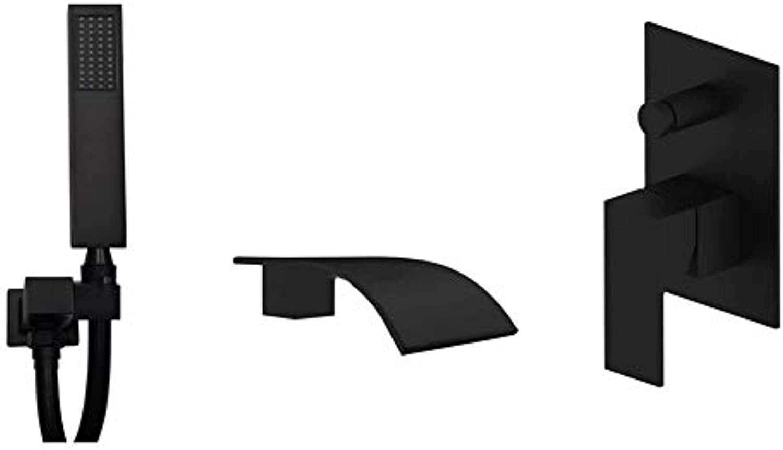 Schwarzes Duschset, Quadratisch Messing Matt Schwarz Wasserfall Dusche Wasserhahn Umstellsystem Badewanne Regenbrause Auslauf