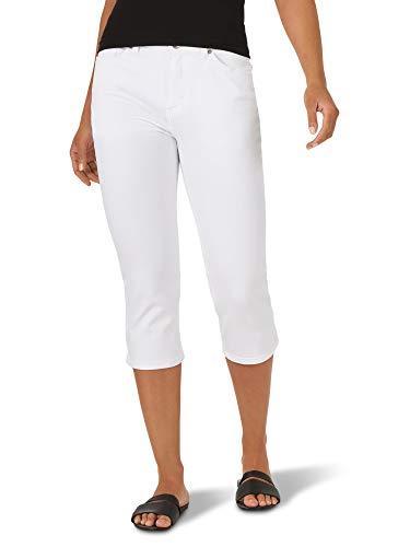Lee Women's Sculpting Slim Fit Mid Rise Capri Jean, White, 4 Petite