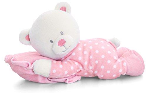 Lashuma Plüschtier Baby Bär Rosa mit Schmusekissen, Keel Kuscheltier, Teddy Stoffbär 25 cm