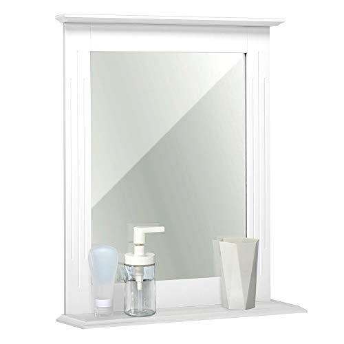 Meerveil Badezimmerspiegel, Spiegel Wand mit Ablage und Spiegel, 46x12x55cm MDF Spiegel Klein, Geeignet für Badezimmer Flur Eingangsbereich, Weiß