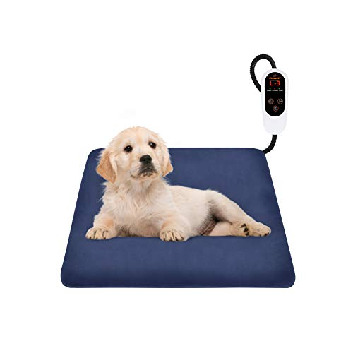 FOCUSPET Pet Heating Pad, Electric Dog Heating Pad Indoor Upgraded 6 Levels Temperature Adjustable Warming Bed 12 Timers Levels Auto Power Off With Waterproof Mat Removable Fleece Cover Resistant Cord