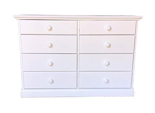 Wide Wooden Eight Drawer Dresser White Chest of Drawers Fully Assembled Kids Bedroom Furniture 50.78 inches Large 30.45 inches Double Dresser No Assembly Required