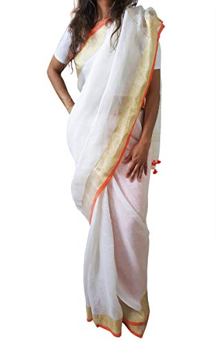 Mehrunnisa Handloom Premium Linen Saree with Zari Border from West Bengal (White & Orange)