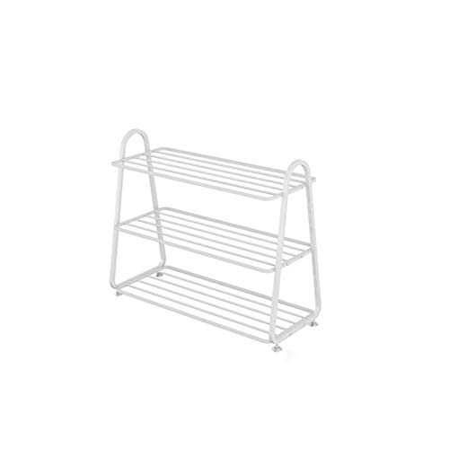 LYLY Zapatero Nordic Simple Shoe Rack Hierro Estante de Zapatos Home Multi-Layer Space-Whaving Shoe Storage Organizador para el Armario de Entrada Estante de Zapatos (Color : White, tamaño : 3 Tier)
