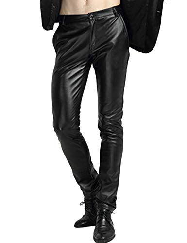 Yeokou Men's Skinny Straight Leg Tapered Pu Faux Leather Motorcycle Biker Pants (32, Black)