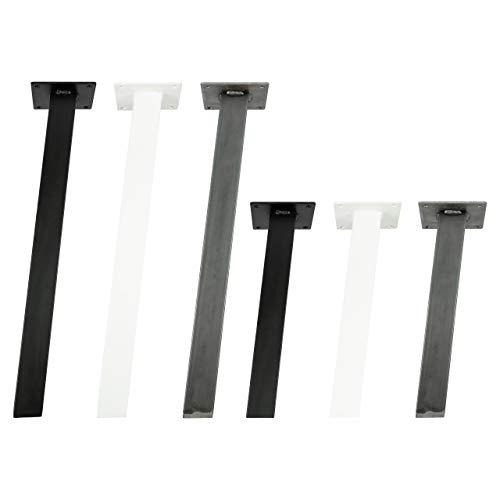 4x Natural Goods Berlin STANDARD Legs eckige Metall Tischbeine massiv | Tischgestell quadratisch | Tischkufen stabil | 5mm Grundplatte | DIY Möbelfüße (Schräg - 42cm (Bank/Couchtisch), Schwarz)