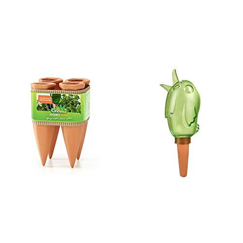 Bio Green Pflanzen Bewässerung Wine Tonkegel, Terracotta/grün - für Wein Flaschen & Scheurich Bördy M, Waterreserve Wasserspender aus Kunststoff und Tonkegel, Green, 20 cm hoch, 0,22 l Vol.