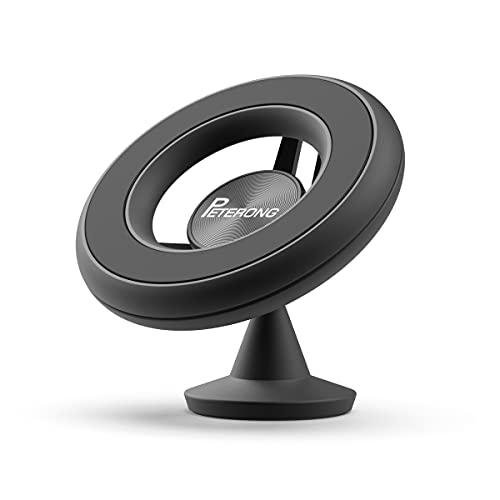 PETERONG Soporte de Coche Magnéticos Compatible con MagSafe, Giratorio de 360 Grados Soporte Móvil Coche Salpicadero con Adhesivo 3M para iPhone 13/12/11/X/Xs, Samsung, HTC/Xiaomi/Huawei(Negro)