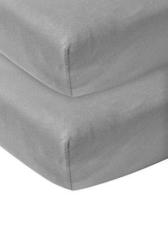 Meyco 565204 Jersey Spannbetttuch, 2er-Pack, 70x140/150 cm (Kinderbett), Dunkelgrau 100% Baumwolle