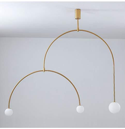 YIWEN Modern Glas Pendelleuchte, Schlafzimmer Küche Art Deco Deckenpendelleuchte Zum Foyer Esszimmer Büro Wohnzimmer Gang Schick Innen- Hängelampe,Gold