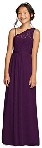 One Shoulder Long Lace Bodice Dress Style JB9014, Plum, 12
