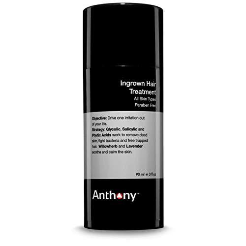 Anthony Ingrown Hair Treatment, 3 Fl Oz, Contains Willowherb, Lavender, Glycolic, Salicylic and Phytic Acids, Fights Bacteria and Frees Trapped Hairs, Soothes, Calms and Removes Dead Skin