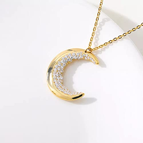 Colgante de collar Collares de luna creciente para mujer accesorios de acero inoxidable cadena larga collares de cuerno doble colgantes regalos para hermanas de color oro rosa Regalo para ella