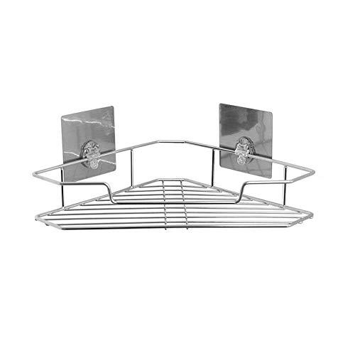 Badkamerrekplank, roestvrijstalen spoorloze montage badkamer driehoekplank, aan de muur gemonteerd sterk enkellaags statief, toilethoek opbergrek, douchebakhouder, 26,5x26,5x12,6cm