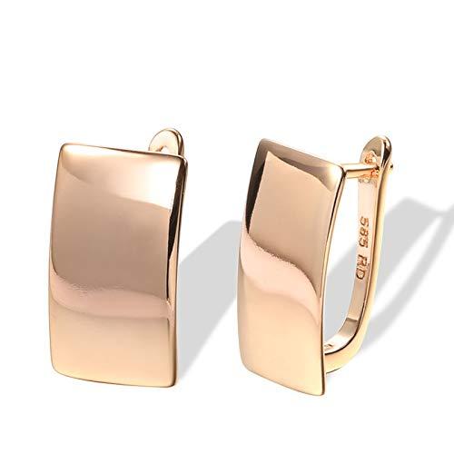 YIJTE Arete Fashion Glossy Dangle Pendientes Oro Rosa Pendientes Cuadrados Simples para Mujeres Joyería Fina Diaria Lujo (Metal Color : Rose Gold Color)