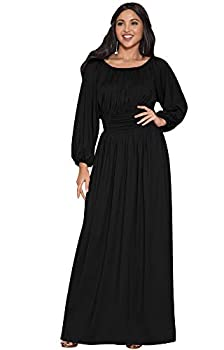 KOH KOH Petite Womens Long Sleeve Sleeves Vintage Peasant Empire Waist Fall Loose Flowy Fall Winter Casual Maternity Abaya Gown Gowns Maxi Dress Dresses Black S 4-6