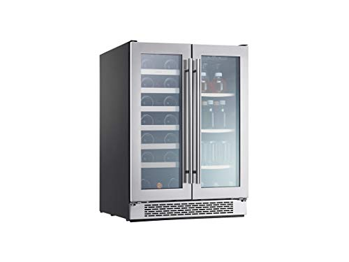 Zephyr Presrv Dual Zone Wine & Beverage Cooler with Glass French Door. 24 Inch 5.18 cu. ft. Refrigerator for Under Counter, Wine Fridge, Beer Fridge, Compact Bar Fridge, Full Size Beverage Center
