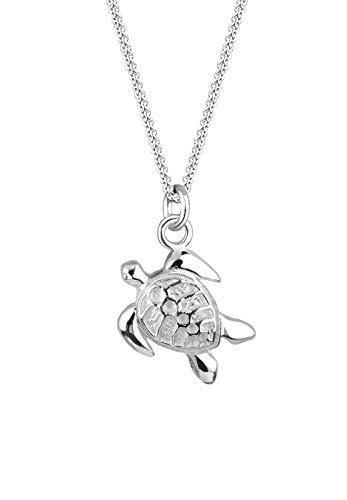 Elli Halskette Elli Damen Schmuck Halskette mit Schildkröten Anhänger Meer Tier Meerestier in 925 Sterling Silber 45 cm lang
