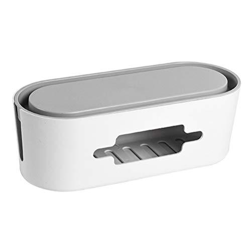 Mekta Caja de almacenamiento para enchufe, caja de cables de aluminio, enchufe con tapa, cable de alimentación, organizador para Home Office, Blanco