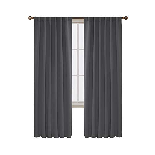 Deconovo Room Darkening Rod Pocket and Back Tab Curtains Thermal Insulated Blackout Curtains for Bedroom 52x84 Inch Dark Grey Set of 2