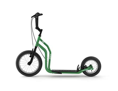 Yedoo Three Tretroller - ab 140 cm Körperhöhe, bis 120 kg, mit Luftreifen 16/12 - Cityroller für Erwachsene und Kinder mit verstellbaren Lenker und Ständer, grün