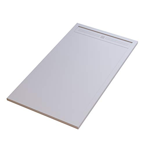 Essence ArredoBagno Plato de ducha Mineralmármol efecto piedra pizarra – Modelo Sun – mármol resina con gel – Rejilla lateral de acero inoxidable en color blanco – 90 x 110 cm