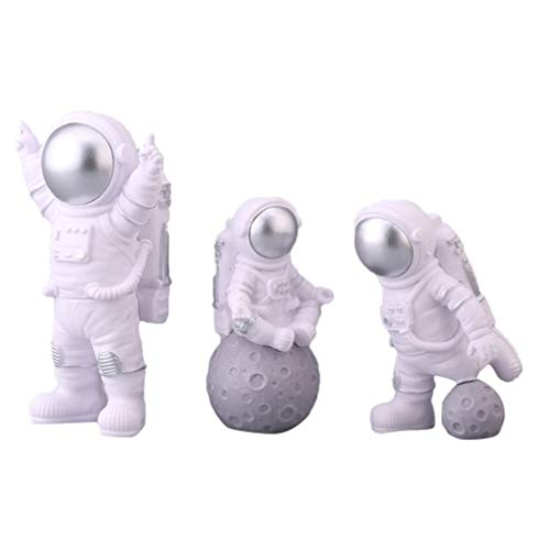 KESYOO 3 Stück Astronauten Figuren PVC Raumfahrer Spielfigur Tortenfigur Desktop Ornament Kuchendeckel Torte Kuchen Dekoration Weltraum Space Party Kinder Geburtstagsfeier Dekoration