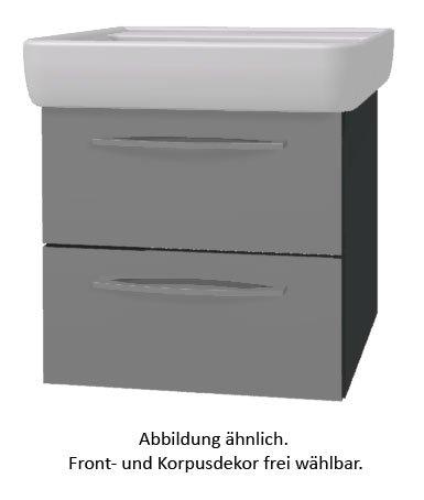 PELIPAL Solitaire 9005 Set K55-2L: Keramik Waschtisch Keramag Renova Nr.1 Plan, Weiß + Unterschrank