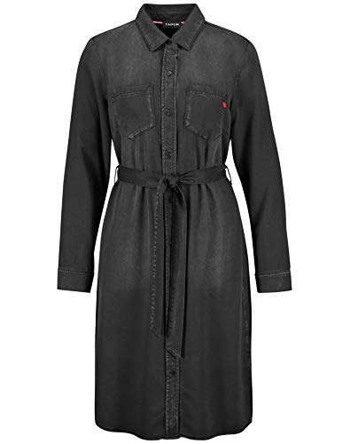 Taifun Damen Hemdblusenkleid in Jeans-Optik leger mit Leichter Taillierung Black 38