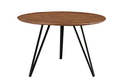 SAM Runder Esszimmertisch 120 cm Insa, Esstisch nussbaumfarben, Akazienholz massiv, Schwarze Metallfüße, Tischplatte 26 mm