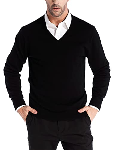 Kallspin Men's V Neck Pullover Sweater Cashmere Wool Blend Lightweight Pullover (Black, Small)