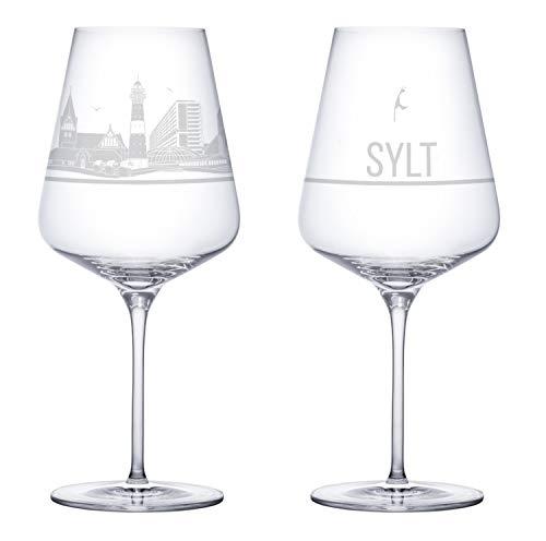 3forCologne Weinglas Sylt Sehenswürdigkeiten Gravur, Souvenir Weingläser 2er Set für Rotwein und Weißwein, Kristallglas