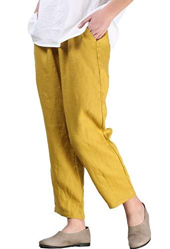 Mallimoda Femme Pantalon Cheville Lin Carotte Pantacourt Casual Taille Élastique Jaune XL