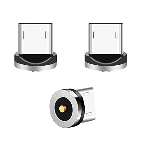 Micro USB Magnet Adapter, Lively Life 3er-Pack Magnetischer Micro USB Stecker für Magnetladekabel Ladekabel, kein Kabel Silber