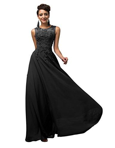 Lange Damen Abendkleider Ballkleider Partykleider Ärmellos Chiffon Kleid für Hochzeit Brautjungfer- Gr. 34, Cl7555-3