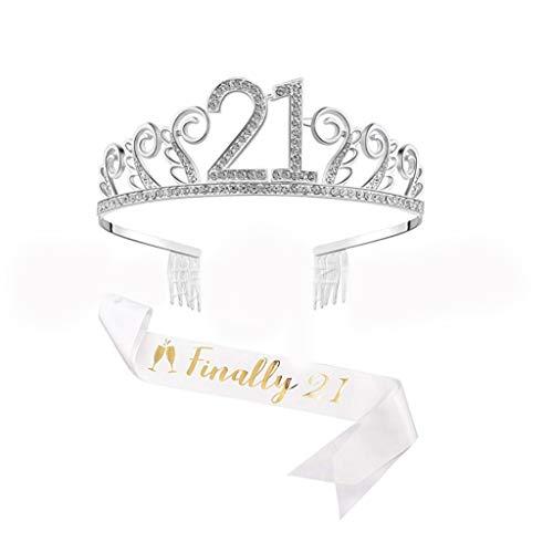 21. Geburtstags Kristall Tiara Krone Geburtstags Krone mit finally 21 Geburtstags Schärpe Birthday Crown Prinzessin Kronen Haar-Zusätze - Silber für Geburtstagsfeiern oder Geburtstagskuchen