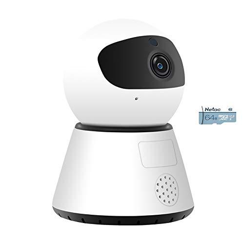 1080P HD WiFi IP-camera, indoor draadloze beveiligingscamera, nachtzicht thuisbewakingsmonitor met 2-weg audio voor baby huisdier oude man 1080p+64g