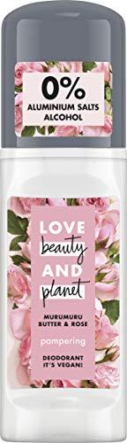 Love Beauty and Planet Pampering Deo Roll-On per la cura delle ascelle, burro di Murumuru e rosa senza alluminio, 1 pezzo (50 ml)